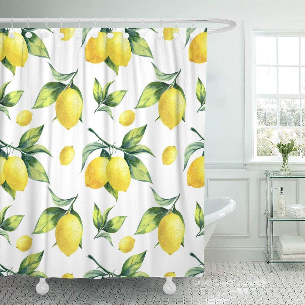 Lemon Green Curtains Waterproof Shower Curtains Colorful Watercolor Lemon Pattern On White Green Fruit Tree Citrus Botanical Juice Extra Long