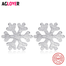Solid 925 Sterling Silver Snowflake Stud Earrings For Women Fashion Jewelry Gift New Hot