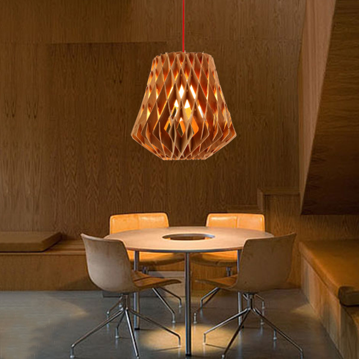 Type pendant lamp style northern european color wood material wood shade material wood fixture height 38cm15inch fixture diameter 38cm15inch