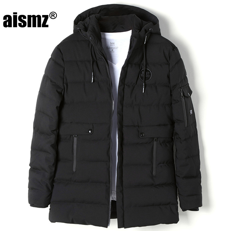 Aismz Winter Jackets Men s Cotton Parkas Coats Thicken Warm Brand Clothing With Hooded Fashion Outwear