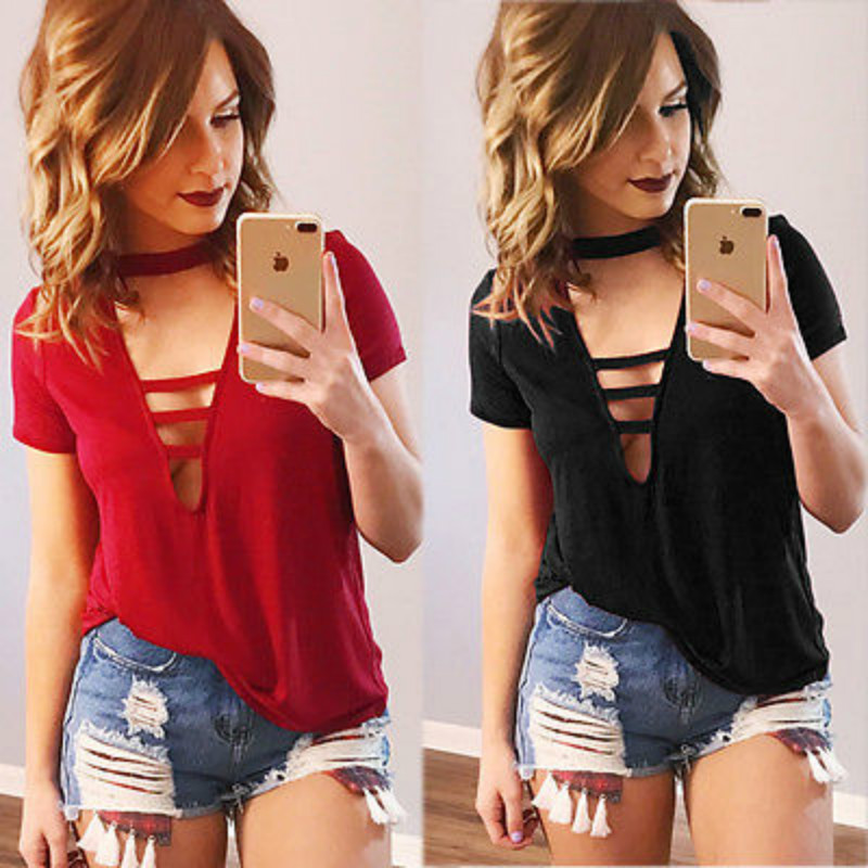 Fashion Women Summer Short Sleeve Cotton Bandage Deep V-Neck Blouse Shirts Casual Loose Cotton Tops Sunsuit Outfits Shirt NEW