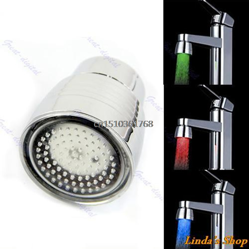 New Temperature Sensor 3 Color Kitchen Water Tap Faucet RGB Glow Shower LED Light #Y05# #C05#