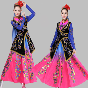 Chinese Minority Costumes New style Xinjiang national female clothes Traditional Chinese Folk dance costumes