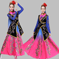 Trajes Nuevo estilo Xinjiang nacional femenina ropa Minoría china Tradicional trajes de danza Folclórica china