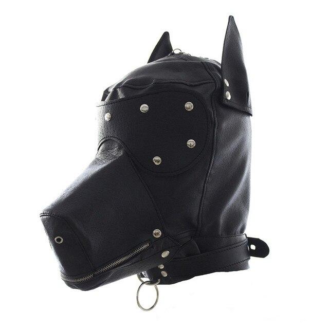 Fetiche máscara de perro de cuero de imitación sexy realista head bondage campana negro animal perro máscara sexo juegos para adultos sexy disfraces de halloween