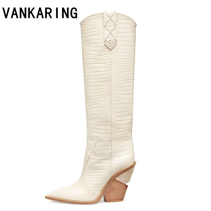 VANKARING وأشار اصبع القدم الأزياء مصمم غريبة عالية الكعب جلدية رعاة البقر النساء أحذية الخريف الشتاء الأحذية مدارج طويلة امرأة الأحذية-في بوت للركبة من أحذية على  مجموعة 1