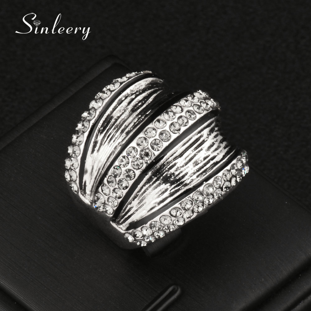 SINLEERY Vintage Gray Cubic Zirconia Wide Rings For Women Antique Silver Color Party Jewelry Anel Size 7 8 9 Jz170 SSL