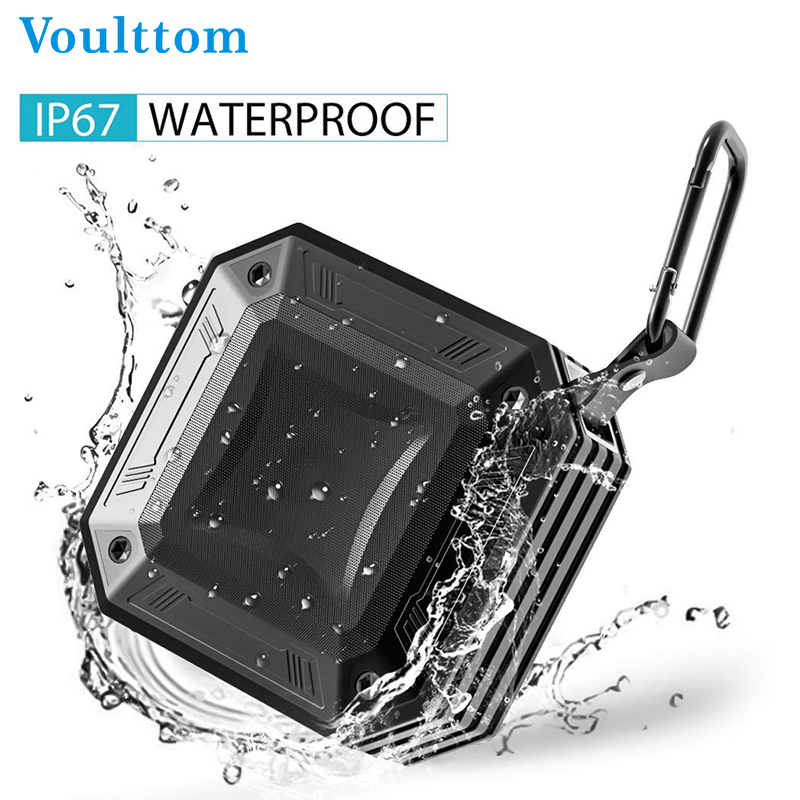 Voulttom Wireless Bluetooth Speaker Portable IP67 Waterproof Outdoor Speakers AUX Line-in FM Radio Mic Handsfree Call Stereo ab k2 stylish 4 in 1 bluetooth v3 0 stereo speaker w handsfree call tf fm aux black