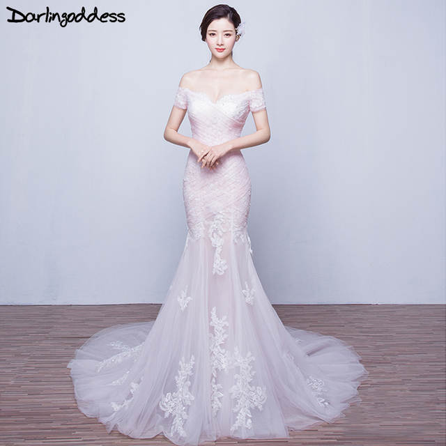 Sexy Backless Lace Mermaid Wedding Dresses 2017 Short Sleeves Blush Pink  Luxury Bridal Gowns Real Pictures. placeholder ... 7726013a6522