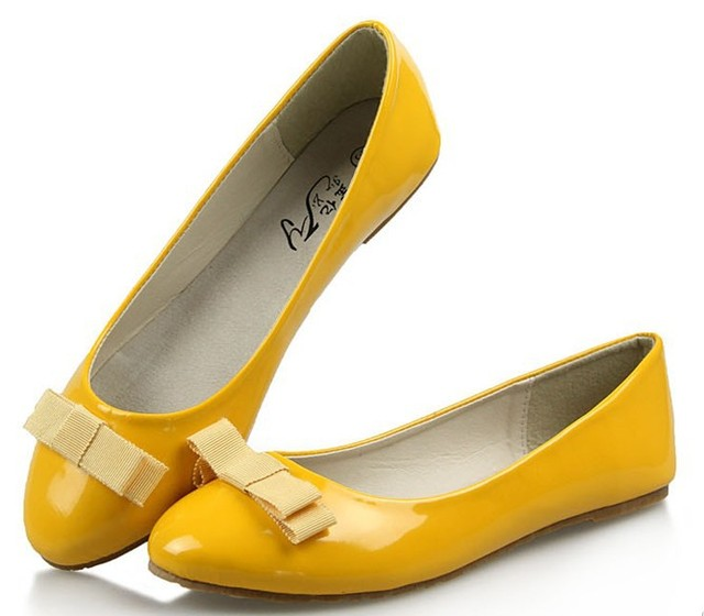 2017 NEW EUR 35-40 Genuine Leather Inner Sweety Ladies  Women Flat Shoes & Beige,Yellow,Red with Lovely Bowtie