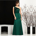 2016 A Line Bridesmaid Dresses Hunter Green Elastic Satin One Shoulder Sleeveless Backless Zipper Floor Length Split Side After