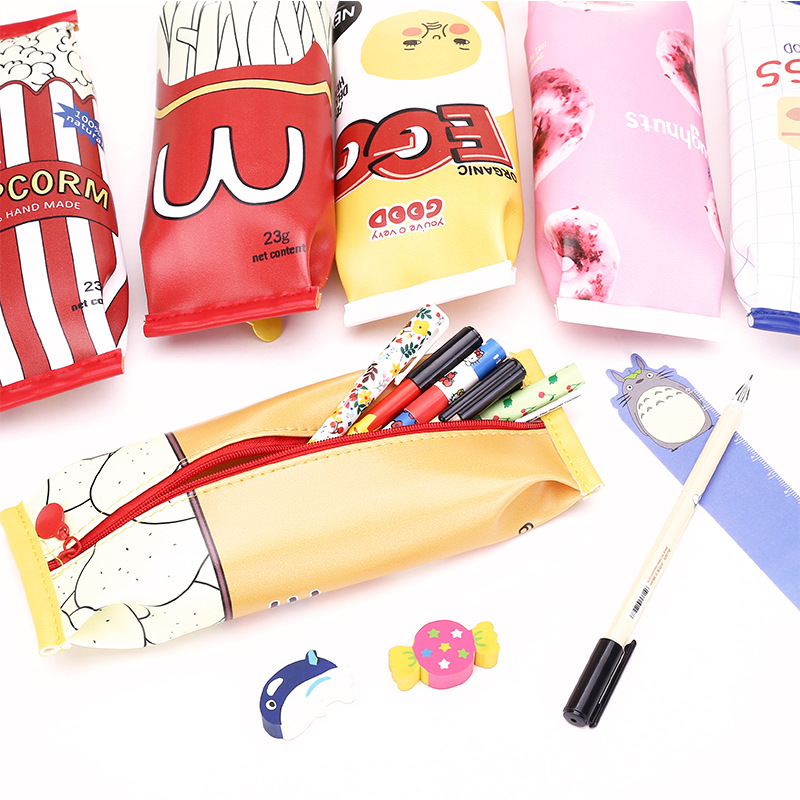 Food packaging kawaii Macaron Cookie pencil case PU leather school pencil bag for girl stationery estojo escolar school supplies