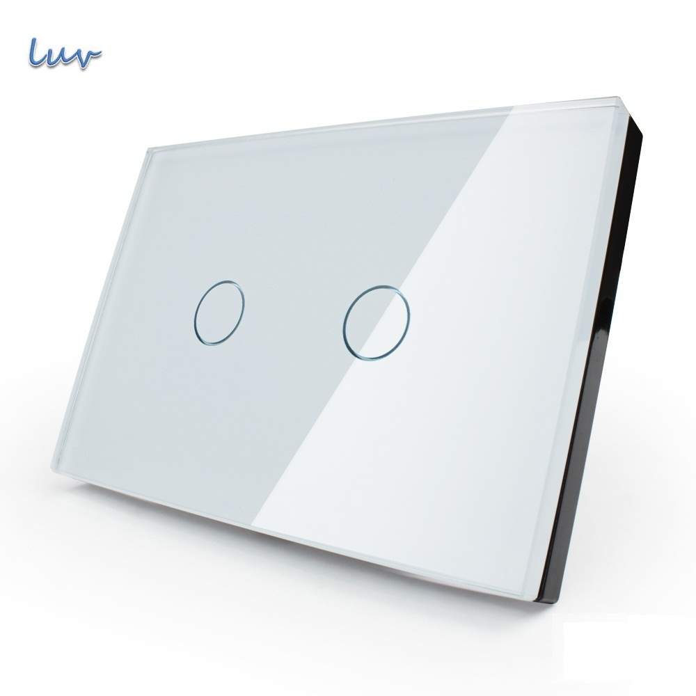 Manufacturer, Smart Wall Switch, 110~250V, Ivory White Glass Panel, 2-gang, US Touch Light Switch VL-C302-81 with LED indicator manufacturer xenon wall switch 110 240v smart wi fi switch button glass panel 1 gang ivory white eu touch light switch panel