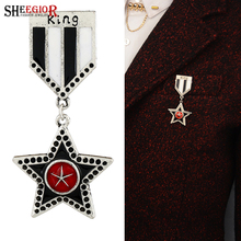 SHEEGIOR Vintage British Style Star Stripe Brooch Badge Mens Jewelry Retro Silver Lapel Pins Brooches for Women Accessories Gift