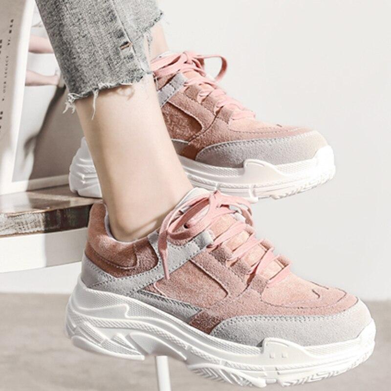 HEE gran nueva primavera zapatillas de plataforma de las mujeres zapatos planos de encaje redondo dedo del pie sólido Creepers de mujer de moda Casual zapatos de confort zapatos XWD7218