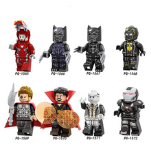 цена Legoings marvel series assembling man, black panther, purple wave, thunder, ebony, throat, panther Marvel's The Evengers онлайн в 2017 году