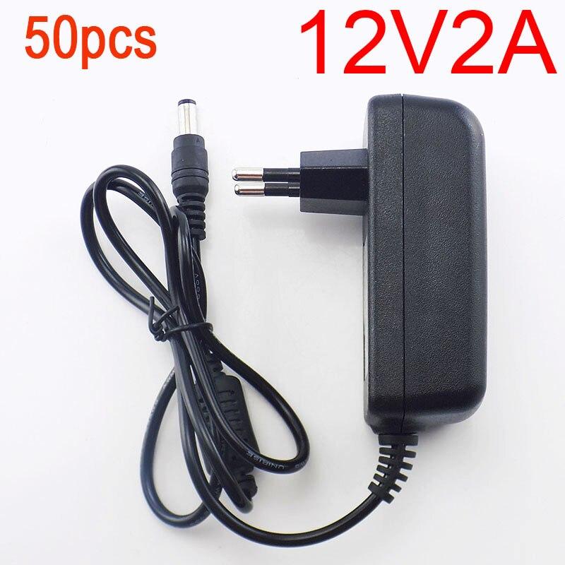 50 шт. 12 В 2A 2000mA 5.5 мм x 2.1 мм 100 240 В AC к DC Адаптеры питания зарядное устройство зарядки адаптер для Светодиодные ленты Выключатель лампы