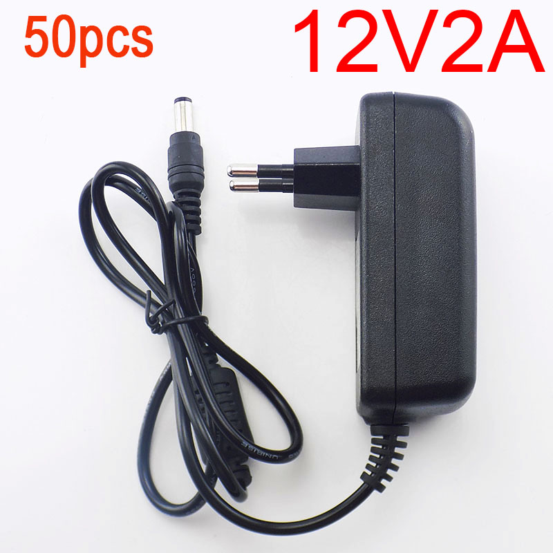 50PCS 12V 2A 2000mA 5.5mm x 2.1mm 100-240V AC to DC Power Adapter Supply Charger Charging adapter for LED Strip Lamp Switch 50pcs 100 240v ac to dc power adapter supply charger charging adapter 12v 2a us eu plug 5 5mm x 2 5mm for switch led strip lamp
