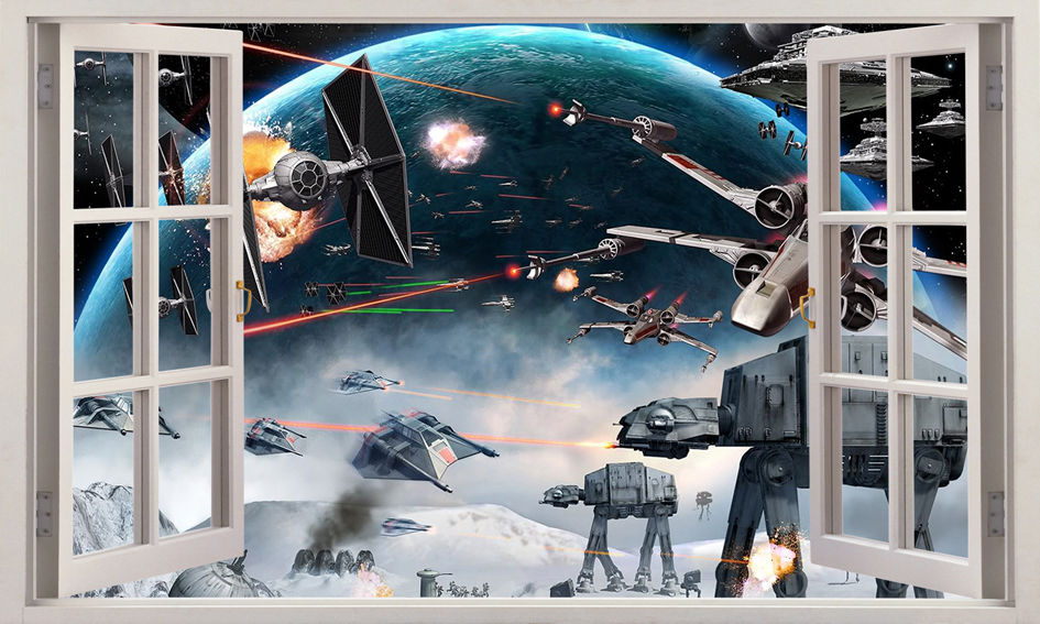 2016 NEW 3D Star Wars Window View Removable Wall Sticker Boys Nursery Decor Decal Mural Wall Stickers Size 100*60cm