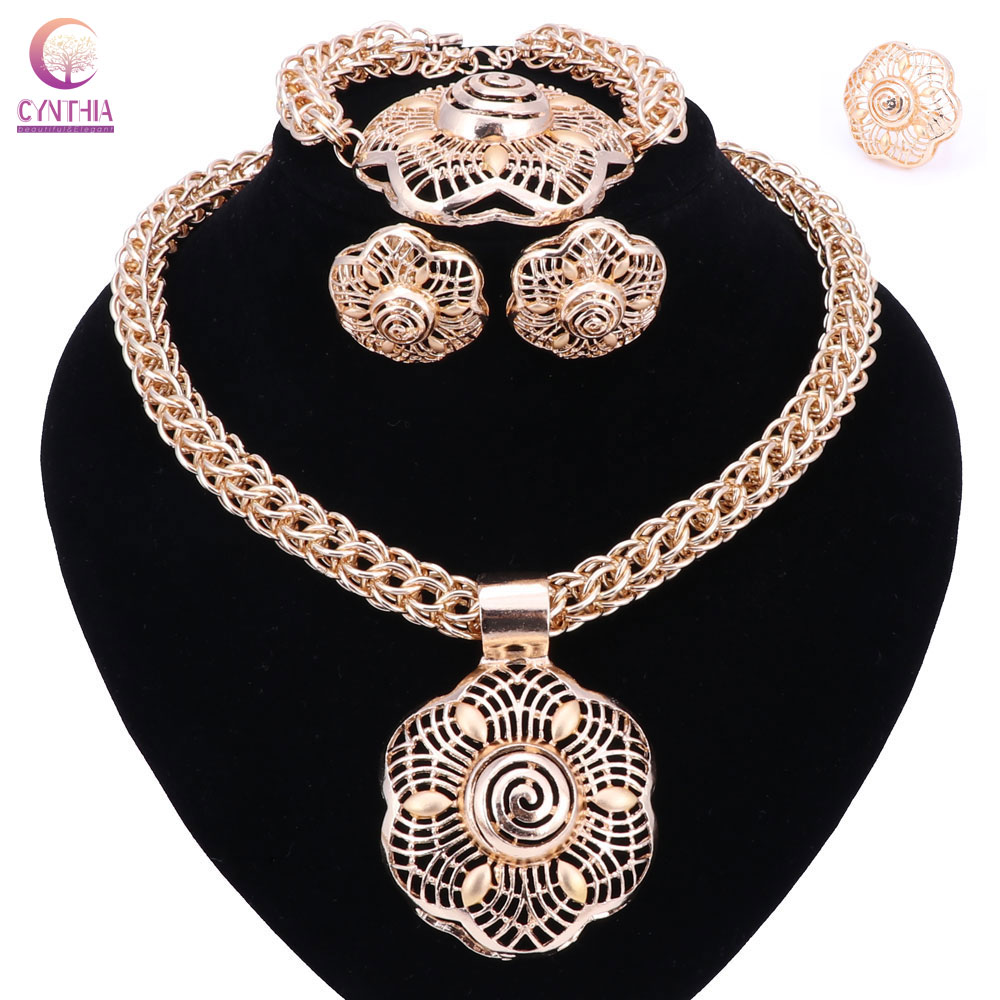 Hot Sale dubai gold color font b jewelry b font sets women wedding fashion jewery sets