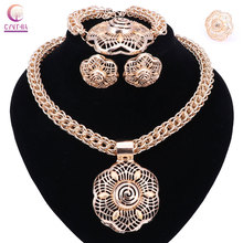 Hot Sale dubai gold color jewelry sets women wedding fashion jewery sets women necklace jewelry sets