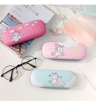 Hot Selling Pu Leather Cartoon Simple Glasses Box Sunglasses Unicorn Cactus Student storage