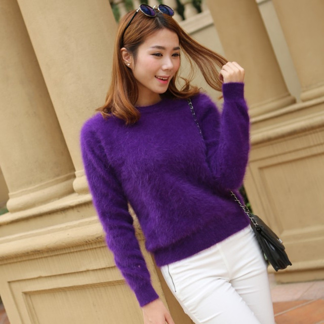 2020 Women Sweaters and pullovers Pure Mink Cashmere Knitted Pullover ladies sweater  Free Shipping TBWA645 6
