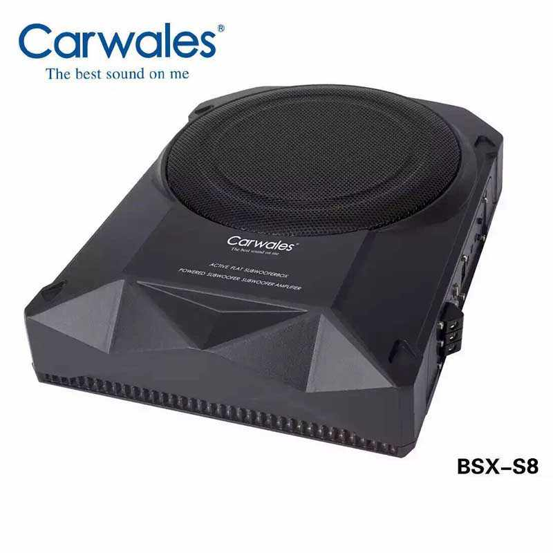 Carwales Car Active Powered Woofer System Amplified Subwoofer 8 inch Car Audio Sub Woofers Car Slim Flat SubWoofers Under Seat