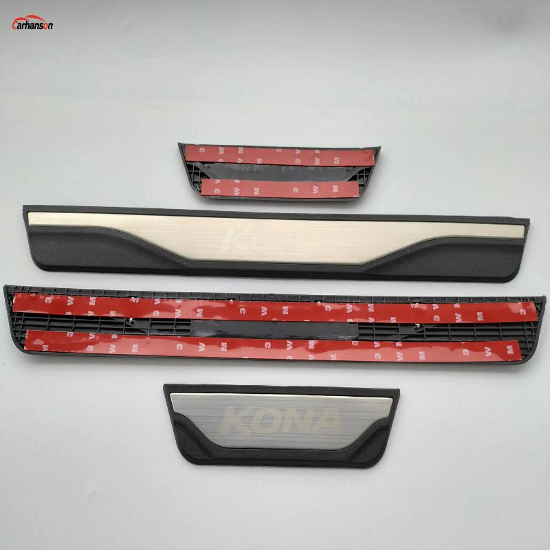 For Hyundai Kona Accessories Car Door Sill Trim Protector Scuff Plate 2018-2020