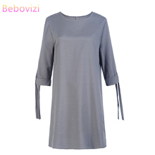 Bebovizi Women New 2019 Summer Fashion Straight Elegant Sexy Dress Casual Office Plus Size Solid Gray O-Neck Vintage Dresses