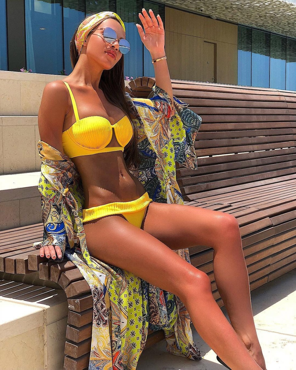 sexy yellow tanga bikini set push up swimwear thong bathing suit women swimsuit underwire bikinis 2019 mujer 4 color swimsuits 5