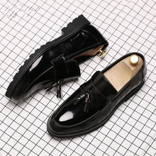 LAISUMK Classic Black Patent Leather Wedding Shoes Mens Wingtip Slip-On Loafers Tassel Fringe Formal Dress