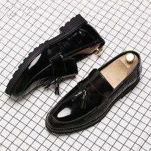 LAISUMK Classic Black Patent Leather Wedding Shoes Mens Wing