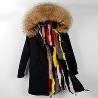 New long slim winter coats jackets woman real raccoon fur hooded rabbit fur liner outwear brand style black armmy green color