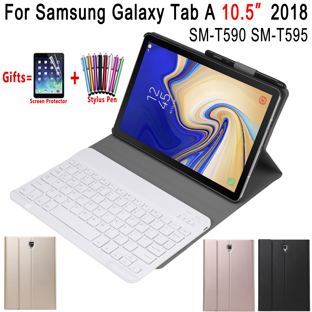 Removable Bluetooth Keyboard Leather Case for Samsung Galaxy Tab A A2 10.5 2018 T590 T595 SM-T590 Cover Funda with Pencil Holder bluetooth keyboard for samsung galaxy note gt n8000 n8010 10 1 tablet pc wireless keyboard for tab a 9 7 sm t550 t555 p550 case