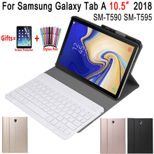 Afneembare Bluetooth Toetsenbord Leather Case voor Samsung Galaxy Tab EEN A2 10.5 2018 T590 T595 SM-T590 Cover Funda met Potlood houder(China)