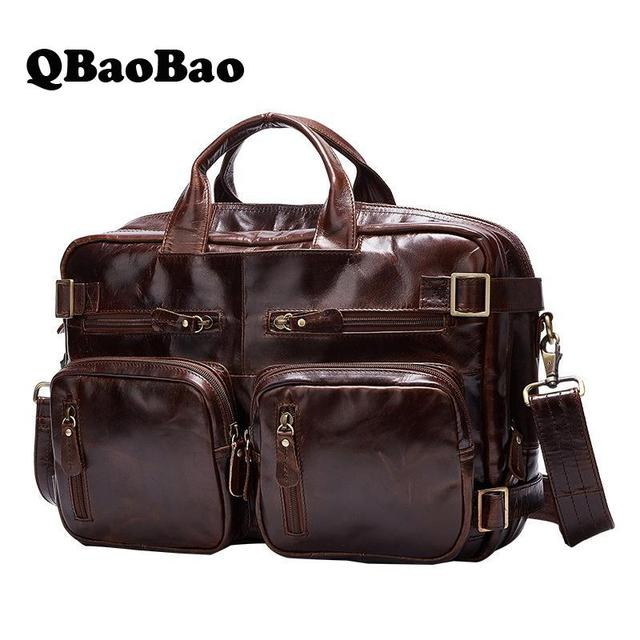 Genuine Leather Men Travel Bag Multifunctional Back Big Bag Luggage Laptop Duffle Bag Crossbody 2017 Suitcase