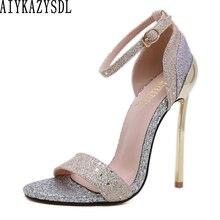 Женские блестящие туфли AIYKAZYSDL с блестками, металлик, тонкий очень высокий каблук, сандалии с ремешком на щиколотке, туфли-лодочки, Свадебная...