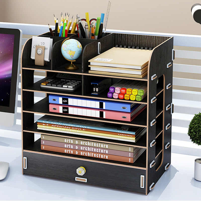 Office storage box desktop file storage A4 information wooden drawer shelf storage shelf office supplies