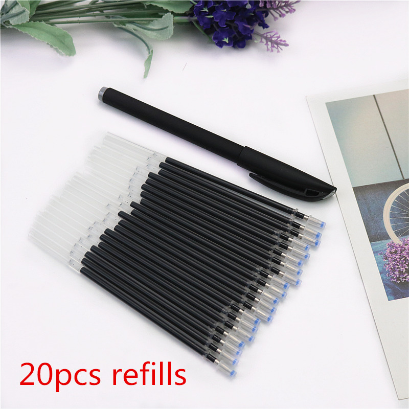 20pcs a bag gel pen refills gift a pen shell 0 5mm black blue red bullet