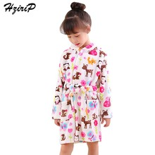 Купить с кэшбэком HziriP New Children Bath Robes Leisure Cute Cartoon Hooded Pajamas Soft Flannel Plush Warm Nightgown Kids Girls Boys Clothes