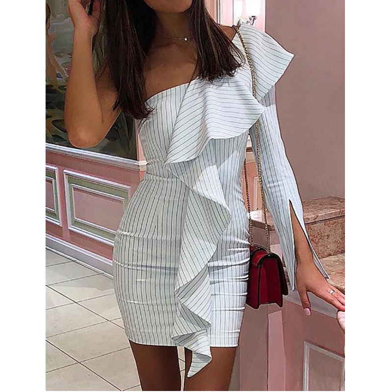 <font><b>Women</b></font> <font><b>Sexy</b></font> One Shoulder Sriped <font><b>Sleeveless</b></font> Bodycon <font><b>Dress</b></font> Woman Ladies Party Club Mini <font><b>Dresses</b></font> Summer <font><b>Casual</b></font> Vestidos image