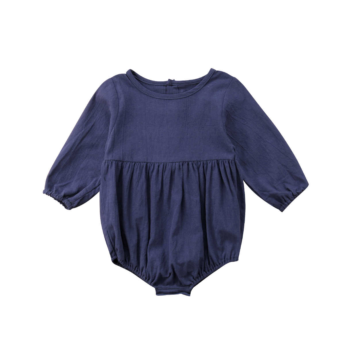 48796ed303d Vintage Newborn Infant Baby Girl Rompers Solid Blue Long Sleeve Jumpsuit  Playsuit For Baby Girl Autumn