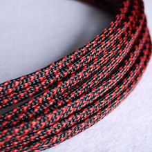 цены 1M Black & Red 6mm Braided PET Expandable Sleeving High Density Sheathing Plaited Cable Sleeves