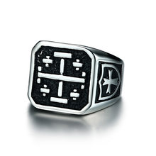 Jerusalem Cross Medieval Signet Ring for Men Solid Stainless Steel Vintage Knight Templar Military Jewelry Anel Aneis Masculinos(China)