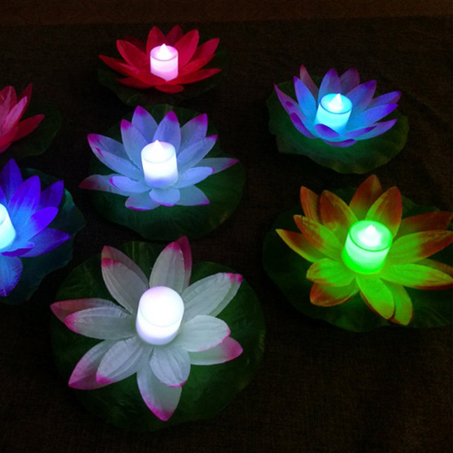 LED flood light Artificial Lotus Colorful Changed Floating Flower Lamps Water Swimming Pool Wishing Light Lanterns Party Supply