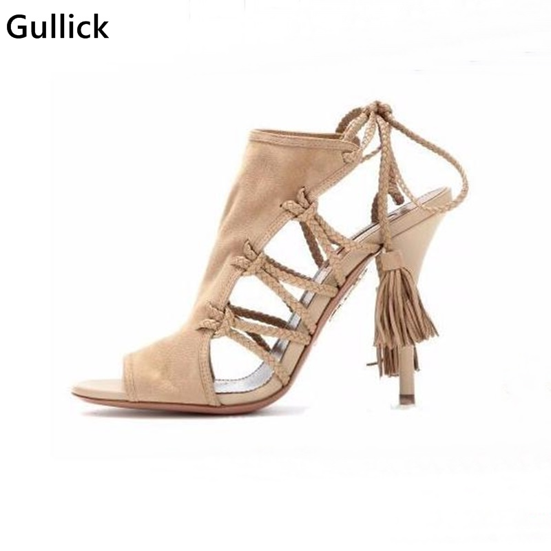 High Quality Fringe Women High Heels Sandals Genuine Suede Lace-up Tassel Shoes Rope Cut Out Gladiator Shoes For Women ледянка 1toy cut the rope cut the rope