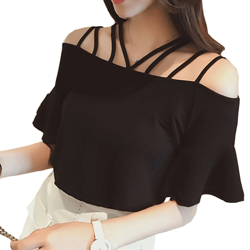 Summer Off Shoulder Slash Neck Women Black T-shirt Strap Halter Bandages Sexy Female T shirt Short Ruffles Sleeve Korean bts Top