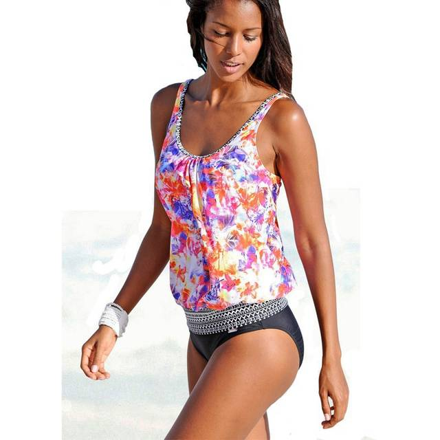 8635ed506e Print oversize tankini top bikini two pieces swimsuit sport swimwear print  trikini vintage printed bathing suit-in Body Suits from Sports &  Entertainment on ...