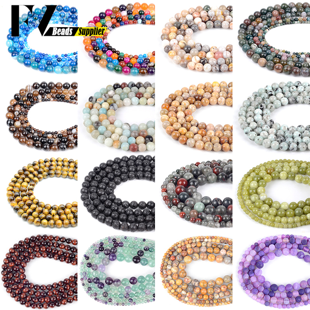 Natural Stone Beads Accessories 4mm-12mm Amazonite Garnet Flourite Lava Stone Beads For Jewelry Making Women Bracelets Necklaces